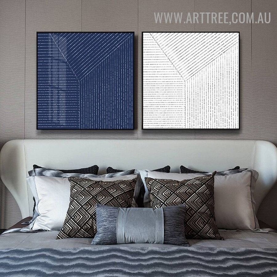 Alignment Horizontal Lines Abstract Geometrical Contemporary Painting Picture 2 Piece Canvas Print for Room Wall Tracery