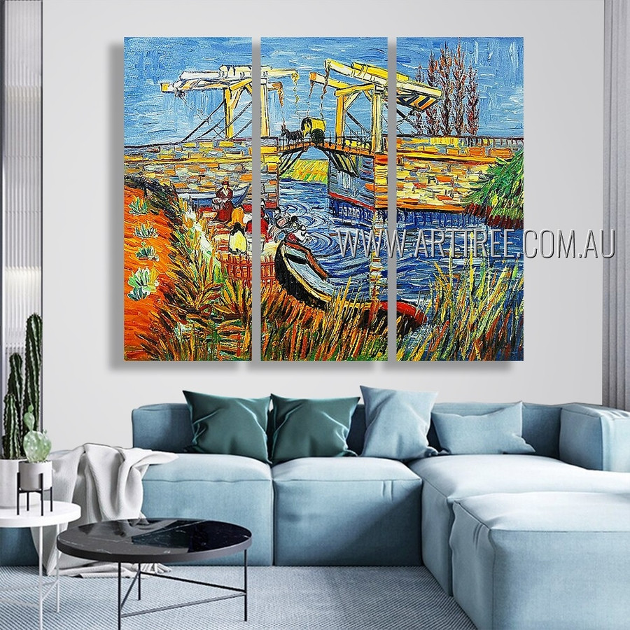 The Langlois Bridge At Arles With Women Washing Reproduction Artist Handmade 3 Piece split panel painting For Room Outfit