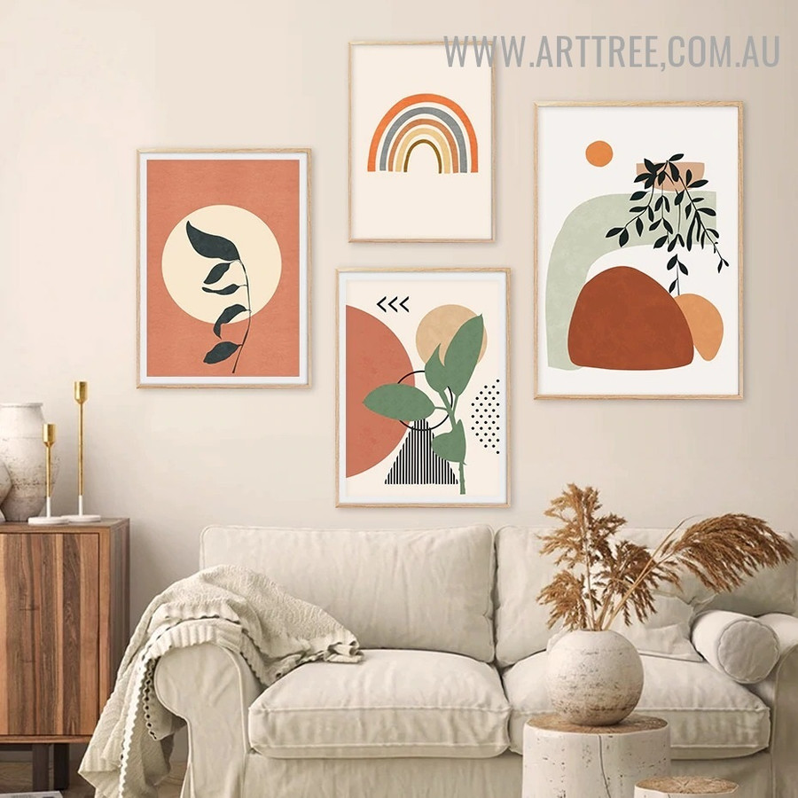 Triangle Foliage Circles Abstract Geometrical Scandinavian Artwork Image 4 Piece Canvas Print for Room Wall Garniture