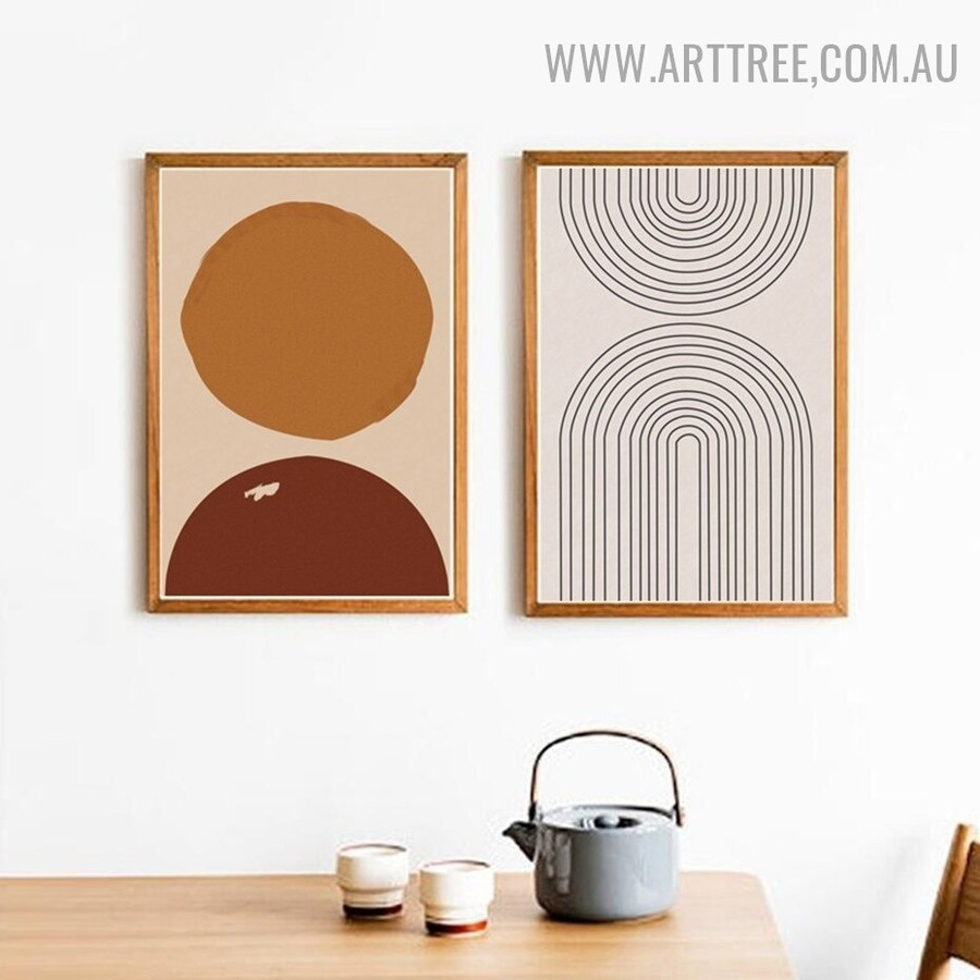 Motley Orb Abstract Geometrical Scandinavian Painting Pic 2 Piece Canvas Print for Room Wall Moulding