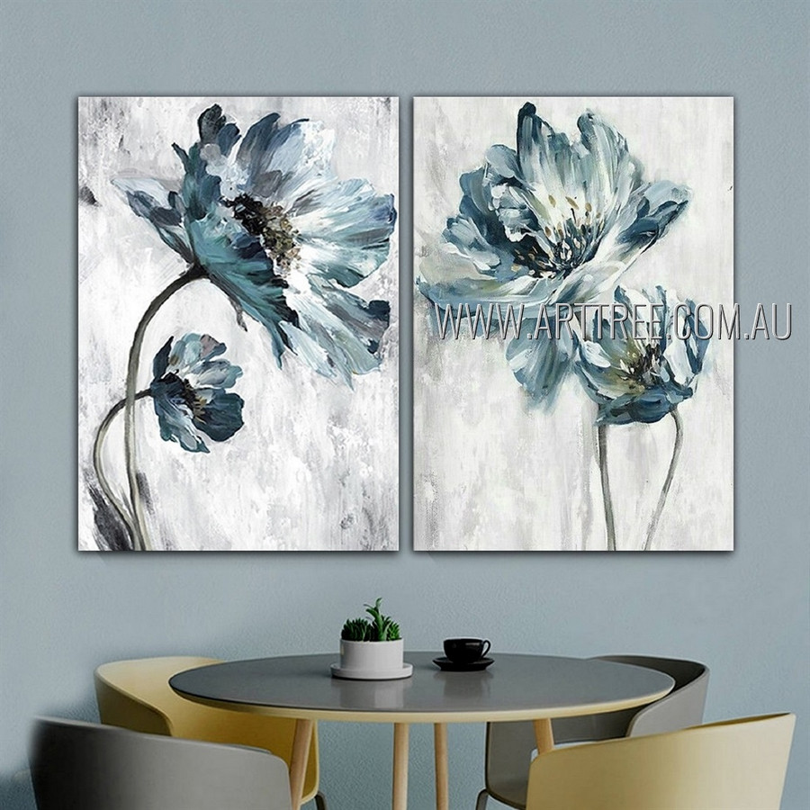 Four Blossoms Abstract Floral Modern Artist Handmade 2 Piece Multi Panel Painting Wall Art Set For Room Drape