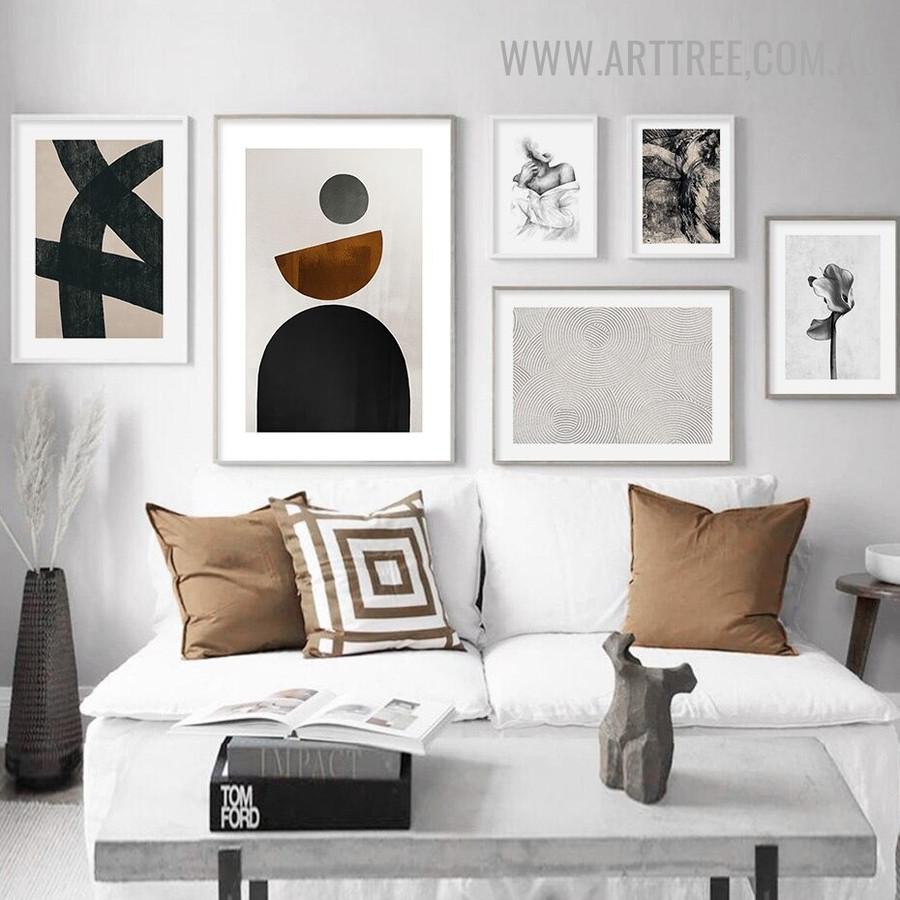 Hued Semi Circles Geometric Retro Image Canvas Minimalist 6 Piece Canvas Print for Room Wall Tracery