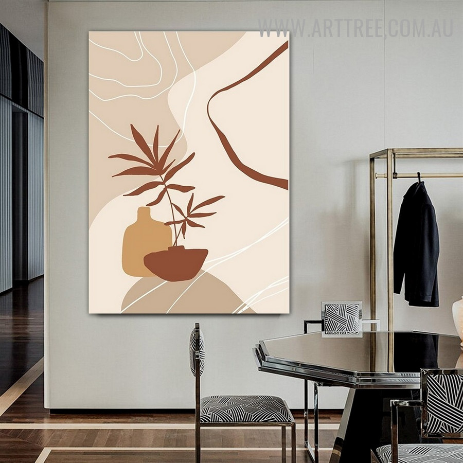 Foliage Vase Lines Abstract Scandinavian Image Floral Artwork Canvas Print for Room Wall Equipment
