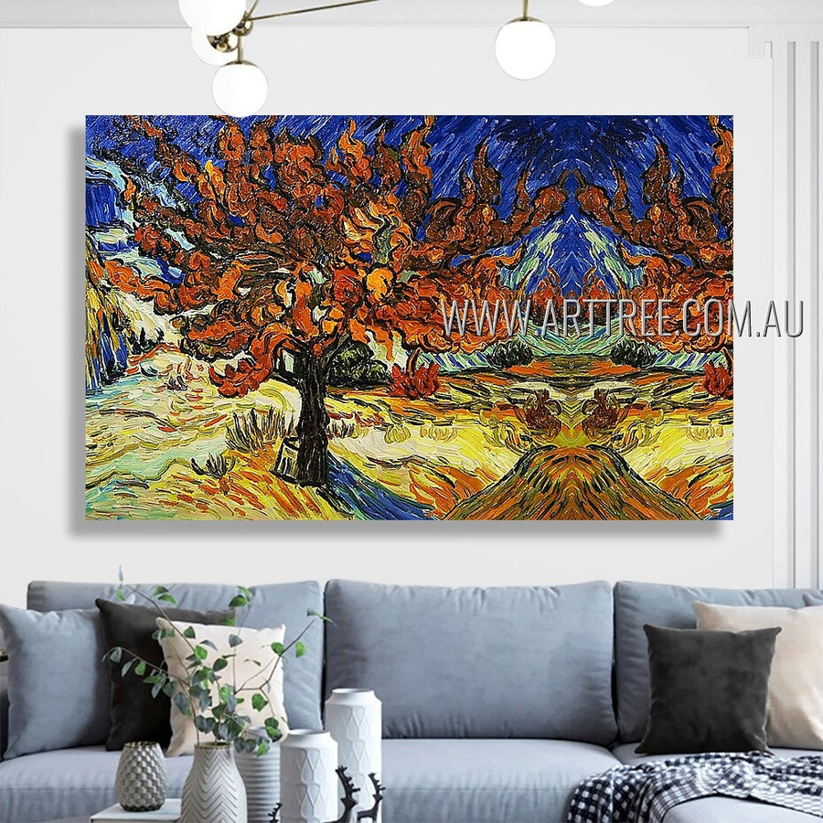 The Mulberry Tree Landscape Floral Heavy Texture Artist Handmade Nature Wall Art Set For Room Garniture