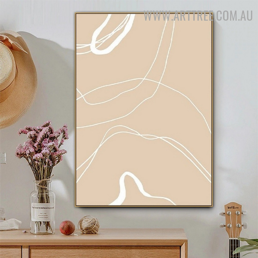 Wiggly Alignments Lines Scandinavian Picture Abstract Geometric Art Canvas Print for Room Wall Trimming