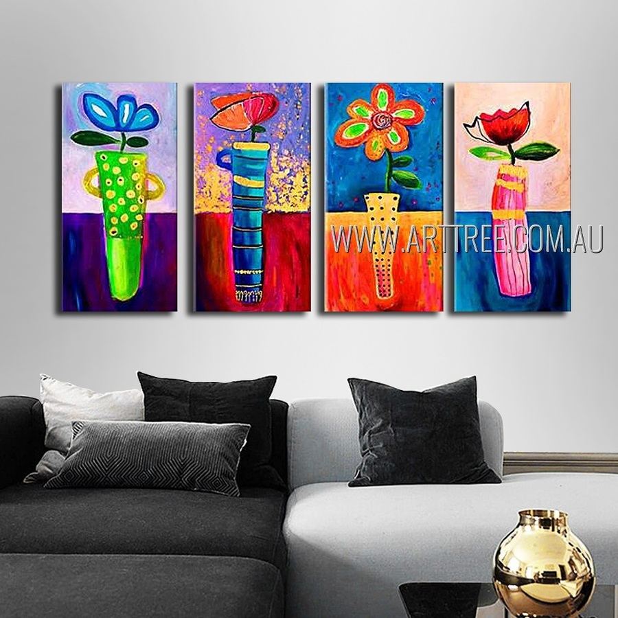 Multicolor Flowers Abstract Floral Modern Heavy Texture Artist Handmade 4 Piece Multi Panel Canvas Painting For Room Drape
