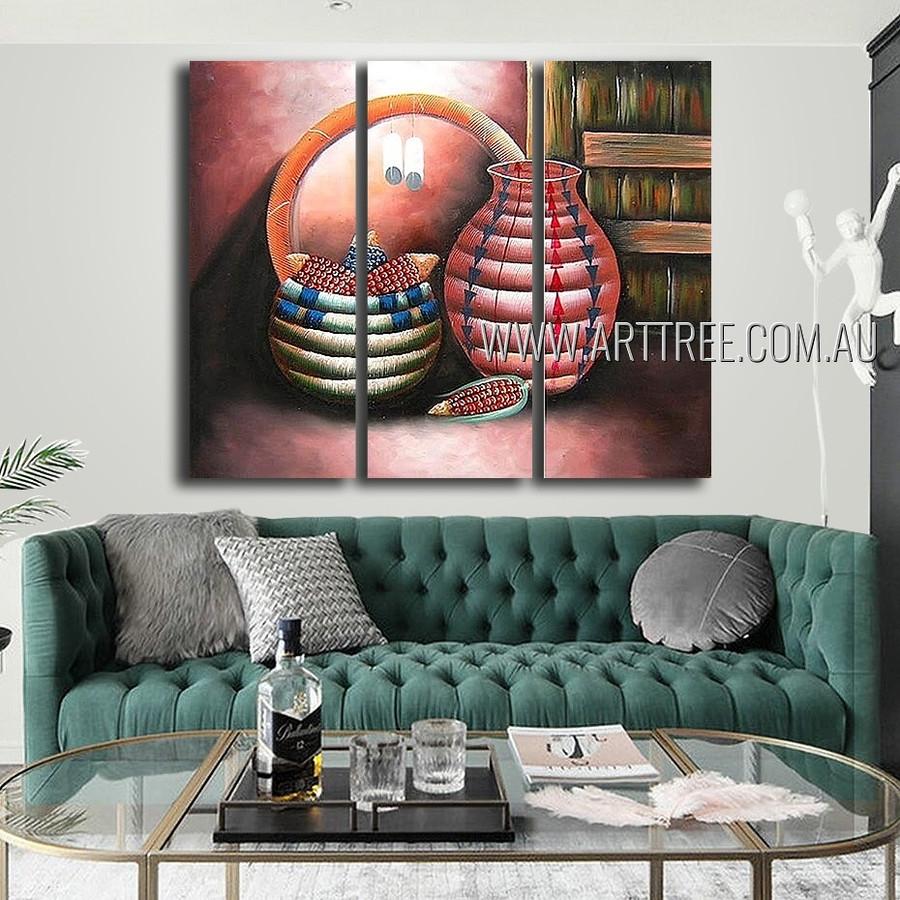 Vase and Bowl Ii Vintage Food Heavy Texture Artist Handmade 3 Piece Multi Panel Wall Art Paintings For Room Finery