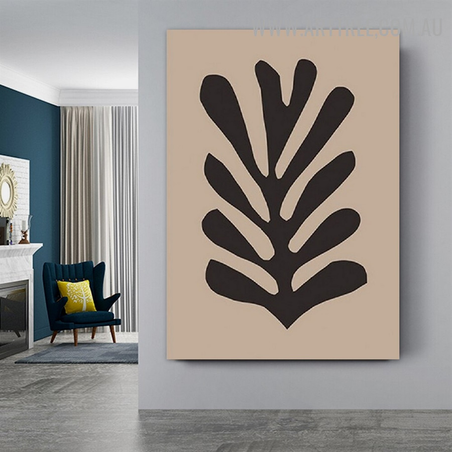 Black Foliage Abstract Scandinavian Retro Art Photograph Canvas Print for Room Wall Decoration