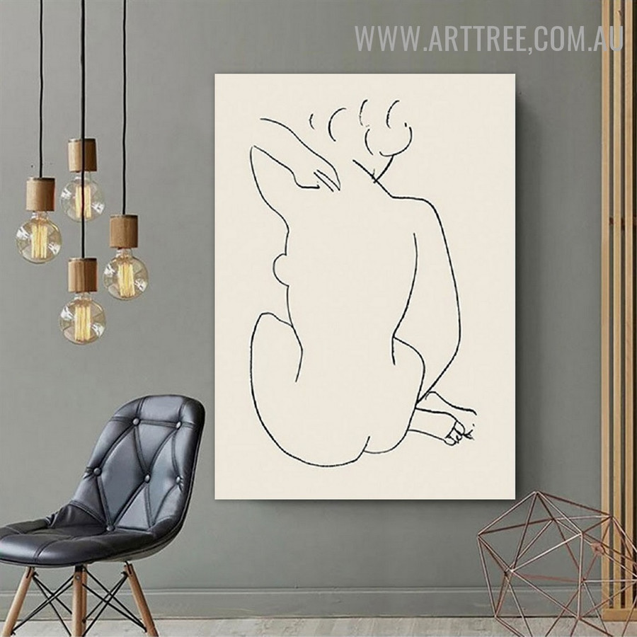 Nude Lady Figure Line Scandinavian Retro Art Picture Abstract Canvas Print for Room Wall Getup