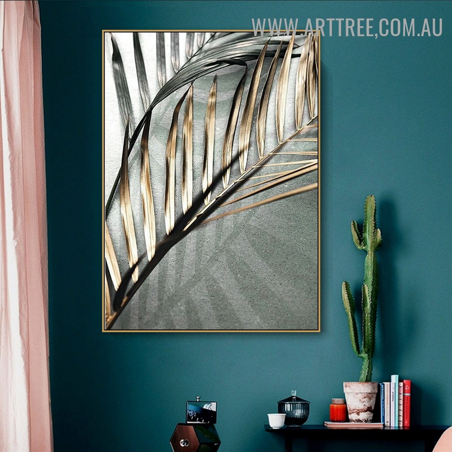 Tropical Palm Leaflets Abstract Floral Retro Wall Art Photo Canvas Print for Room Wall Getup