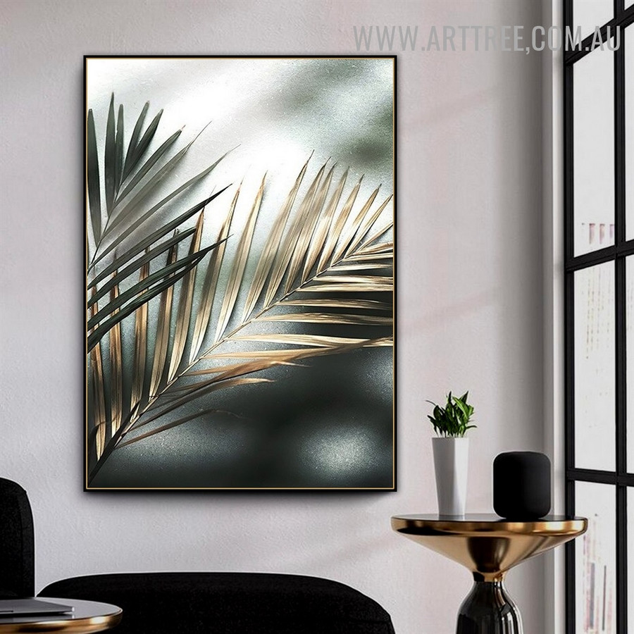 Tropical Palm Leafage Abstract Retro Photo Floral Artwork Canvas Print for Room Wall Moulding