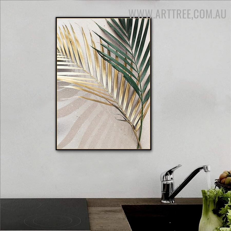 Tropical Palm Leaves Abstract Floral Retro Painting Image Canvas Print For Room Wall Illumination