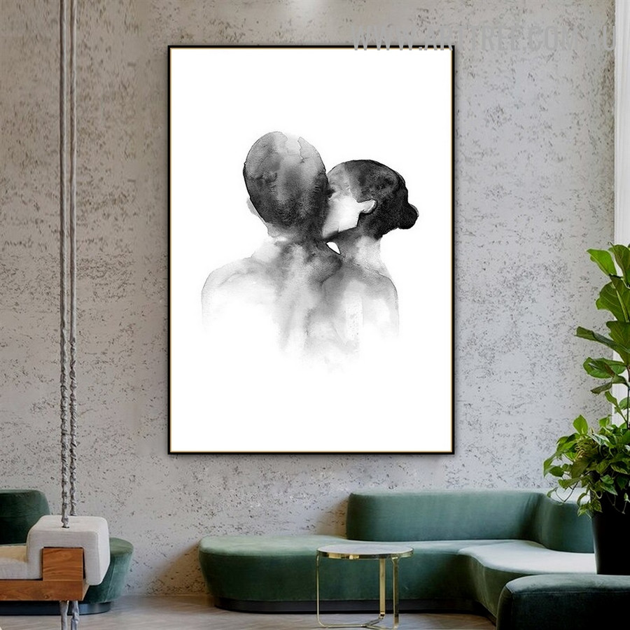 Couple Love Abstract Retro Figure Art Photograph Canvas Print for Room Wall Garniture