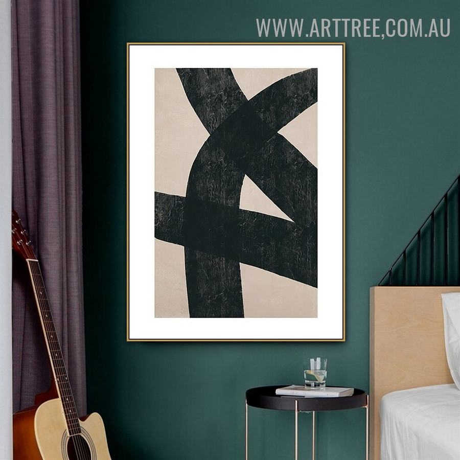 Bold Curvy Lines Retro Geometric Abstract Painting Photo Canvas Print for Room Wall Illumination