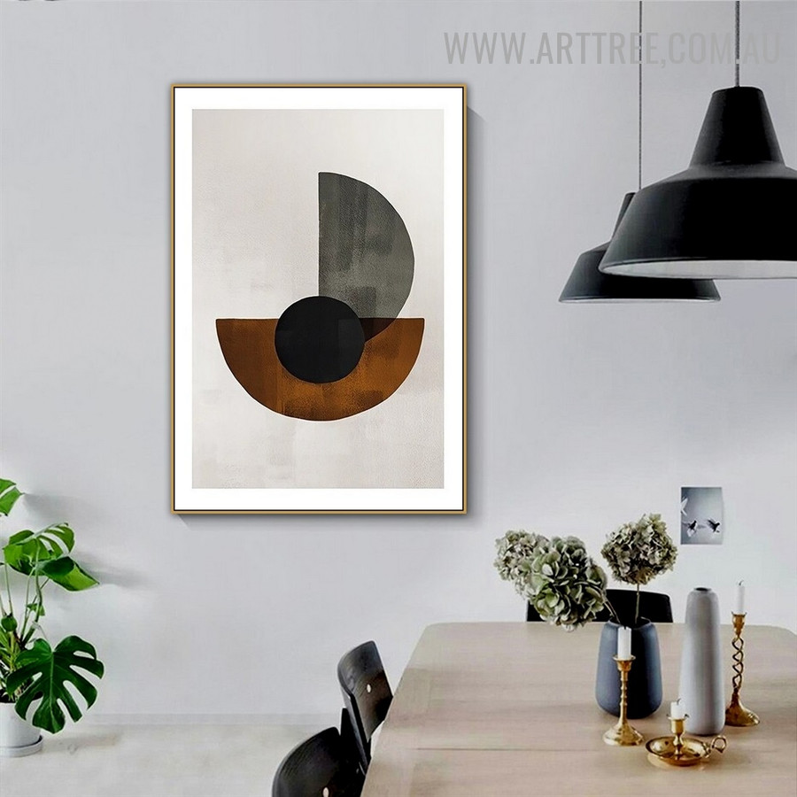 Half Rounds Abstract Retro Geometric Painting Picture Canvas Print for Room Wall Equipment