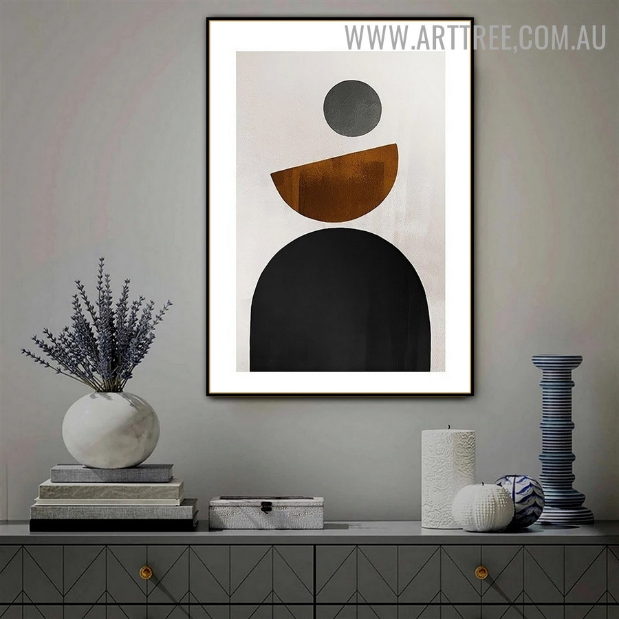 Full Round Retro Abstract Geometric Painting Photo Canvas Print for Room Wall Adornment