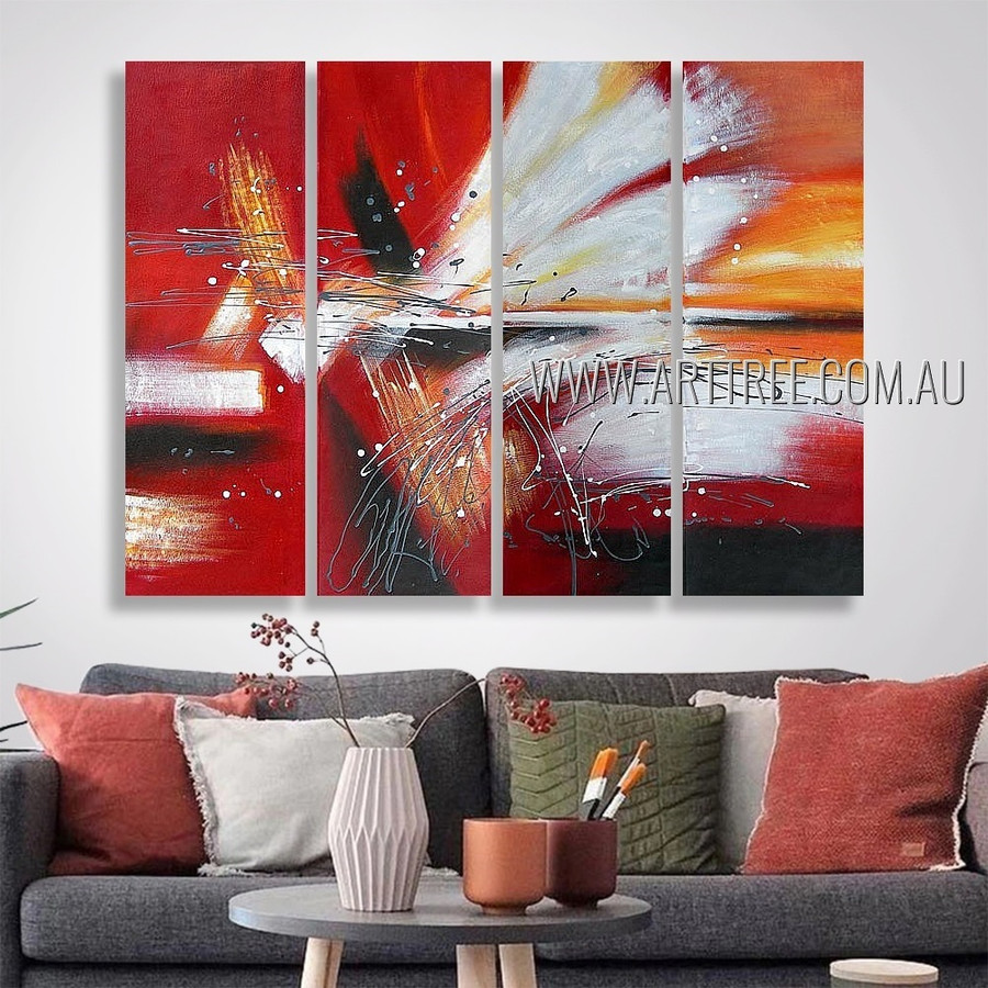 Streaks and Blots Abstract Modern Heavy Texture Artist Handmade 4 Piece Multi Panel Canvas Painting Wall Art Set For Room Décor
