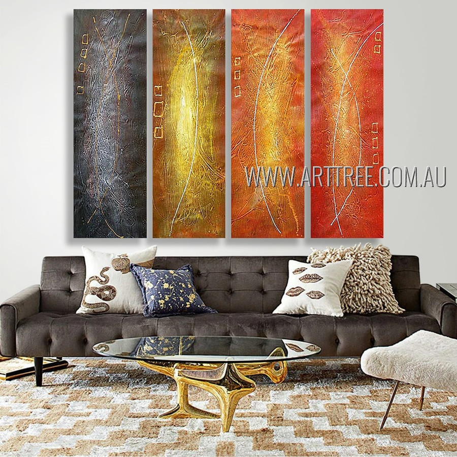 Convoluted Traits Abstract Modern Heavy Texture Artist Handmade 4 Piece Multi Panel Canvas Oil Painting Wall Art Set For Room Wall Decoration