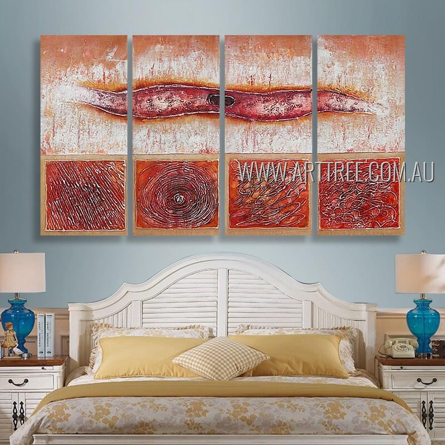 Strokes Design Abstract Modern Heavy Texture Artist Handmade 4 Piece Split Canvas Paintings Wall Art Set For Room Onlay