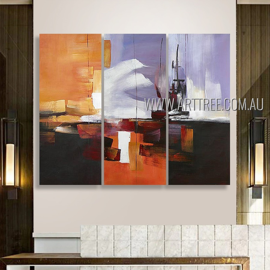Multicolor Flecks Abstract Modern Heavy Texture Artist Handmade 3 Piece Split Panel Canvas Wall Art Set Room  Flourish