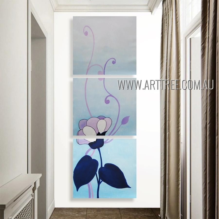 Amazing Big Bloom Floral Modern Artist Handmade 3 Piece Multi Panel Painting Wall Art Set For Room Adornment