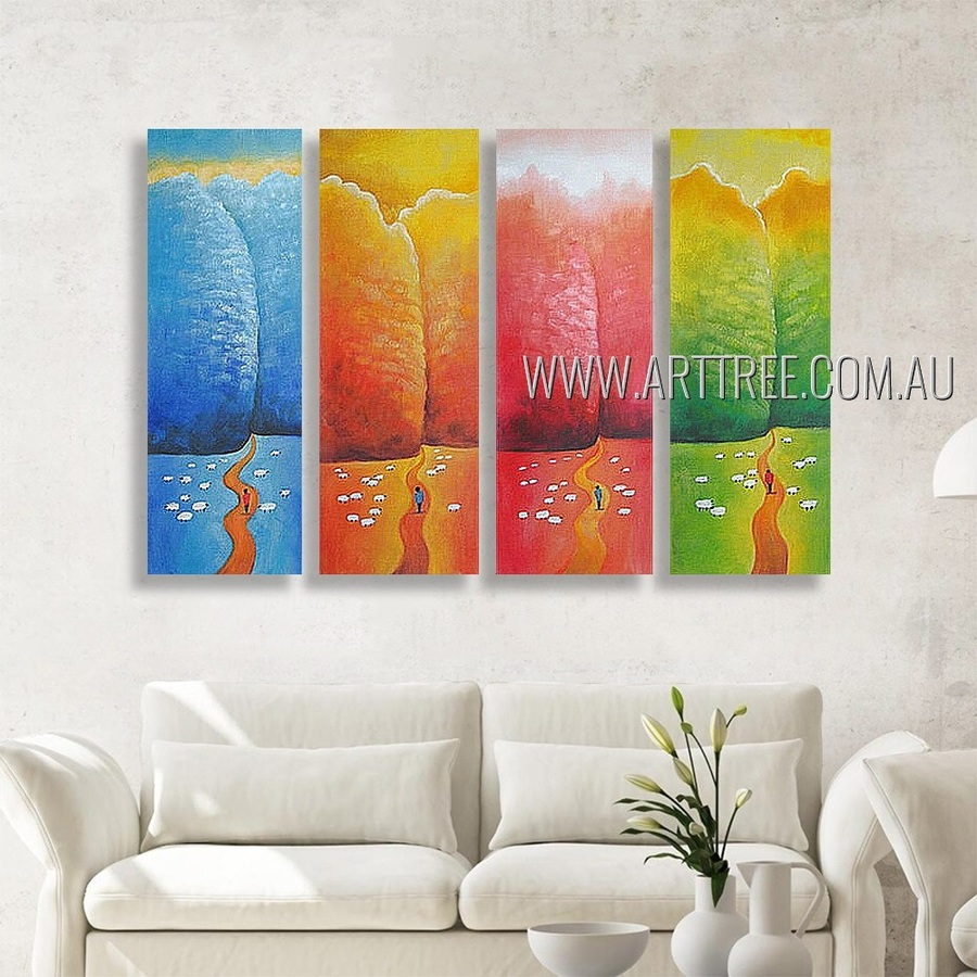 Colorful Hills Animal Landscape Modern Heavy Texture Artist Handmade 4 Piece Multi Panel Canvas Oil Painting Wall Art Set For Room Ornament