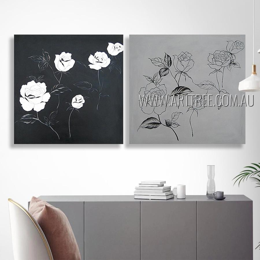 Black Rose Floral Modern Heavy Texture Artist Handmade 2 Piece Multi Panel Oil Paintings Wall Art Set For Room Getup