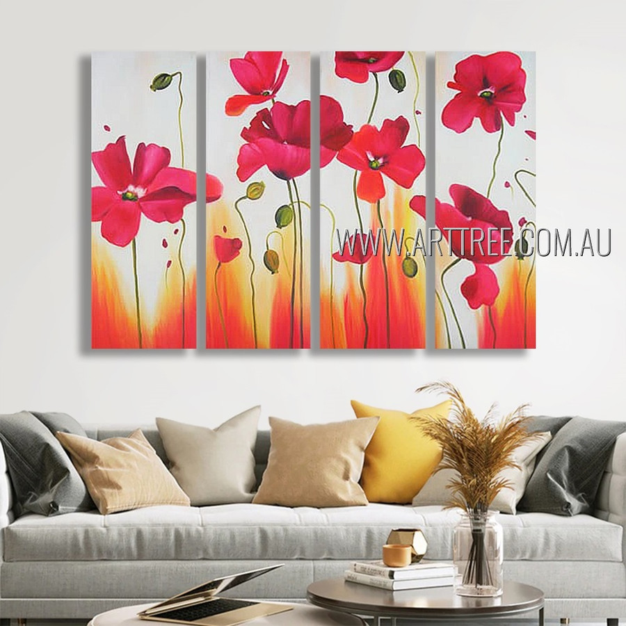Amazing Flowers Floral Modern Heavy Texture Artist Handmade 4 Piece Multi Panel Wall Art Paintings Wall Art Set For Room Ornament