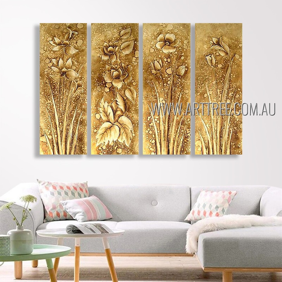 Blooms Plant Floral Vintage Heavy Texture Artist Handmade 4 Piece Multi Panel Oil Paintings Wall Art Set For Room Getup