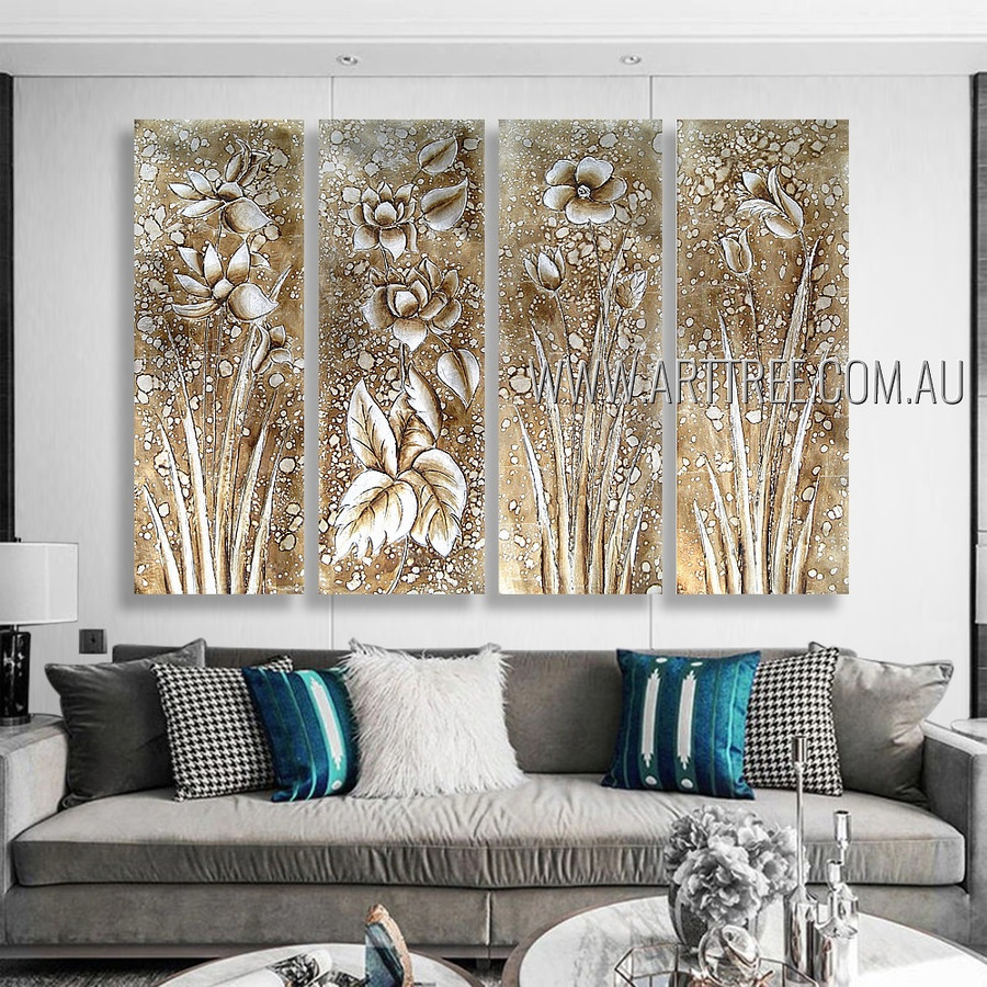 Floral Seedling Vintage Artist Handmade 4 Piece Multi Panel Abstract Painting Wall Art Set For Room Decoration