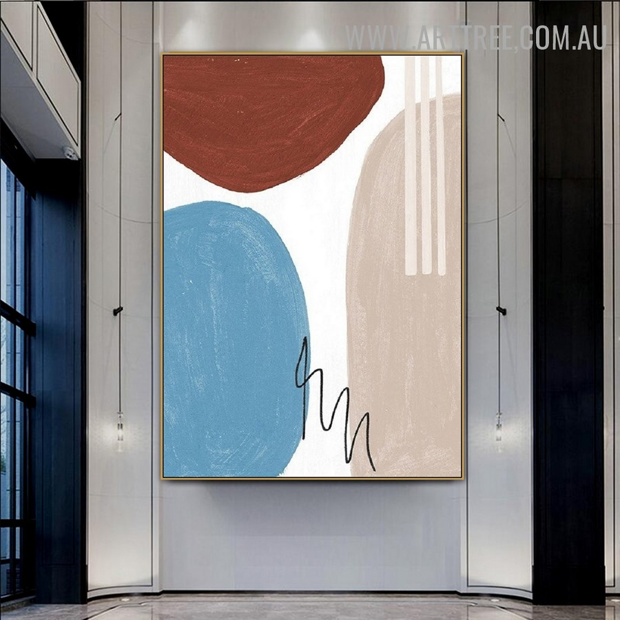 Zigzag Alignment Circles Abstract Geometrical Watercolor Painting Photo Canvas Print for Room Wall Flourish