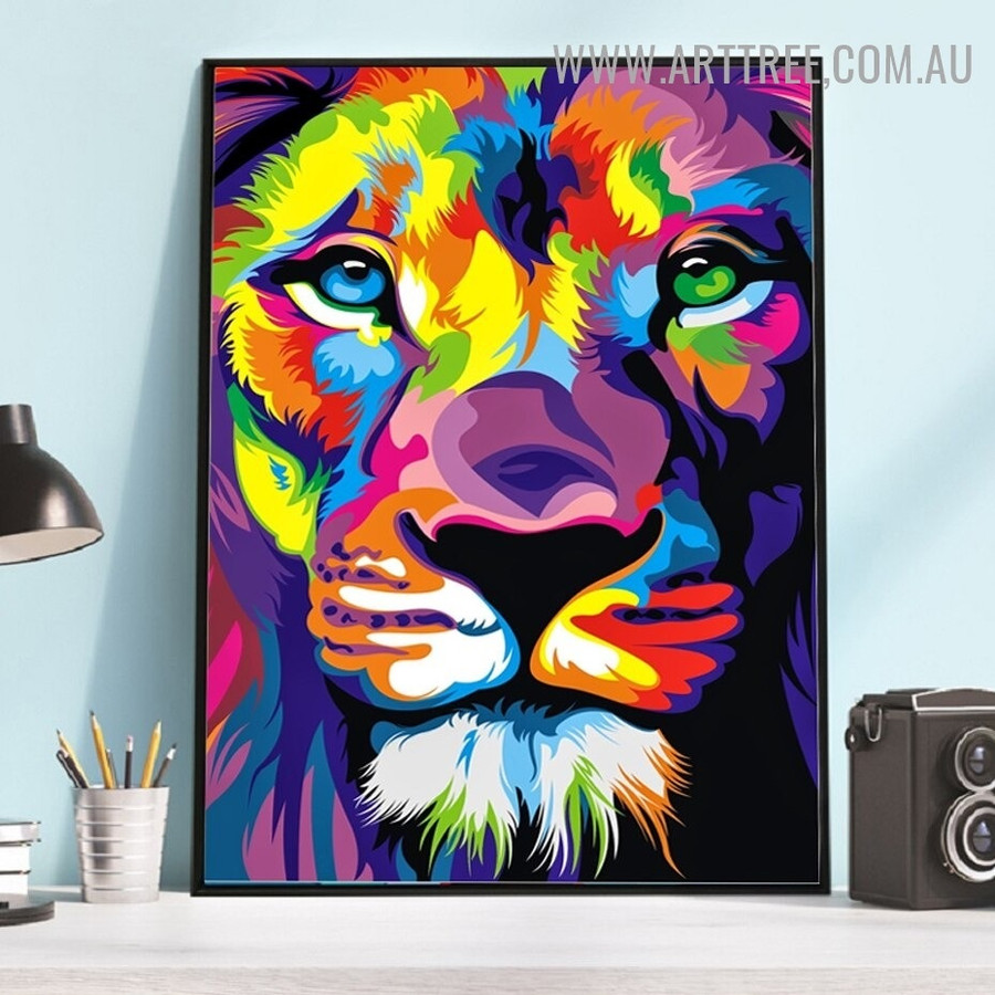 Wild King Face Abstract Animal Modern Artwork Picture Canvas Print for Room Wall Embellishment