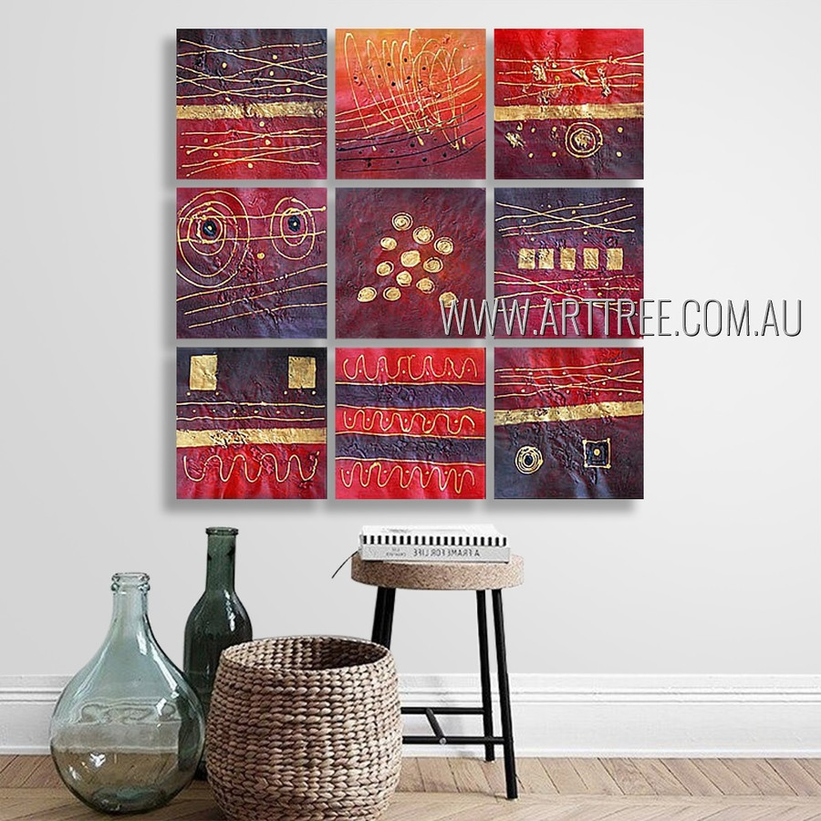 Chromatic Blemishes Abstract Modern Heavy Texture Artist Handmade 9 Piece Split Panel Painting Wall Art Set For Room Décor