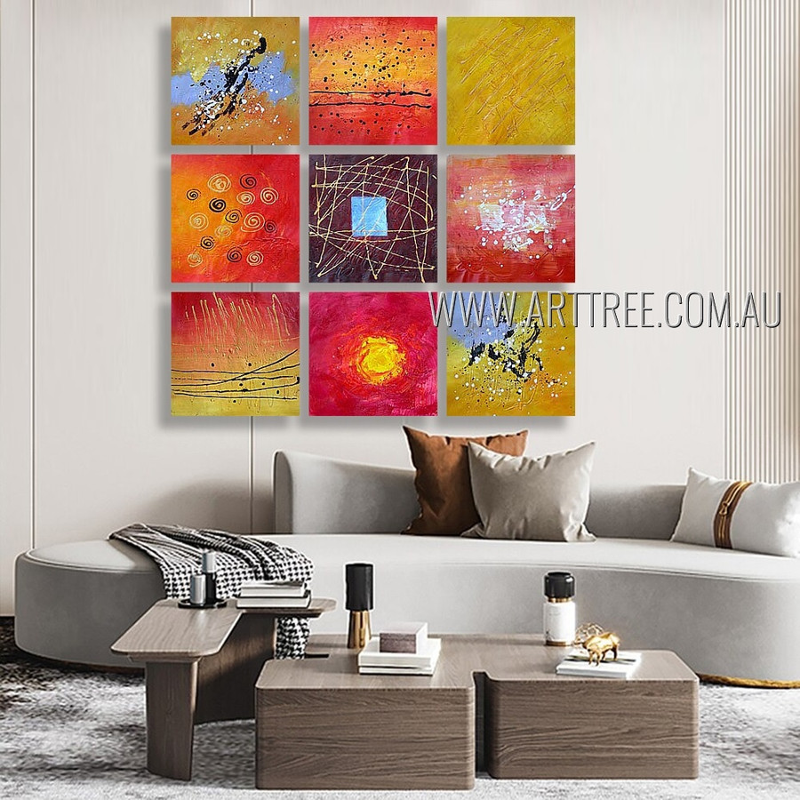 Particolored Blobs Abstract Modern Heavy Texture Artist Handmade 9 Piece Multi Panel Wall Art Paintings Wall Art Set For Room Trimming