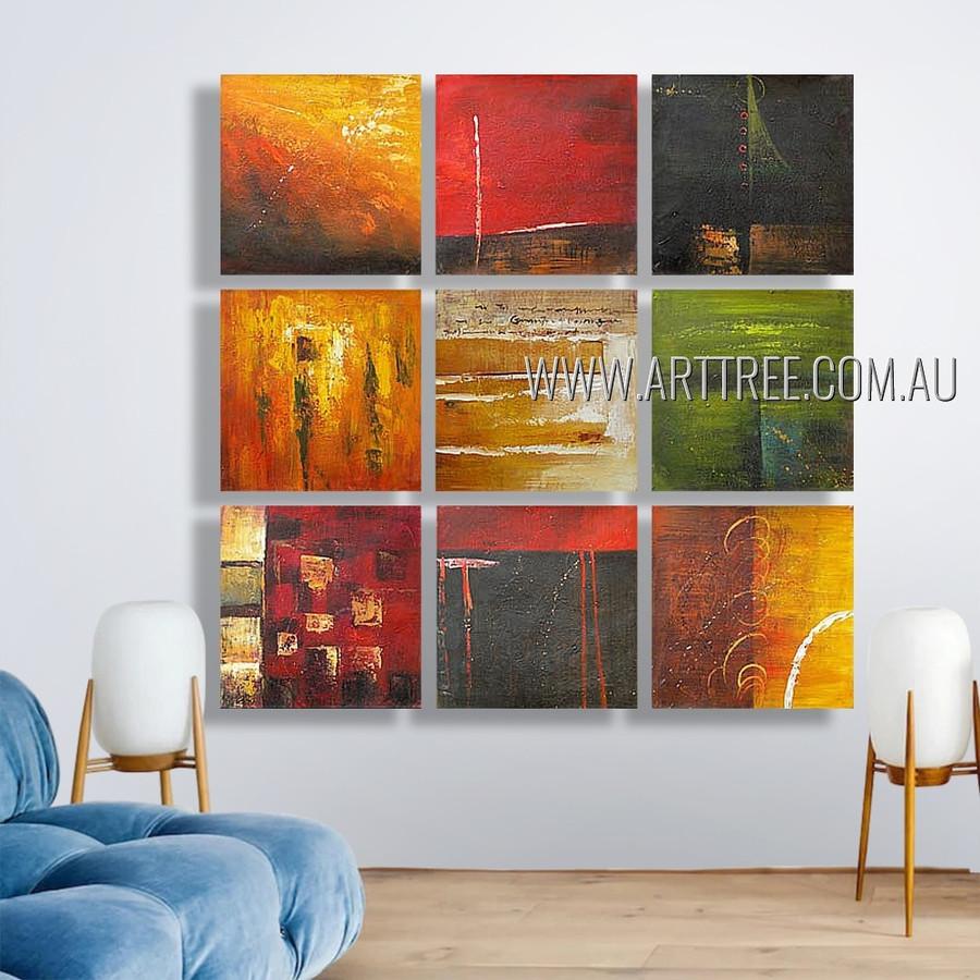 Coloured Flecks Abstract Modern Heavy Texture Artist Handmade 9 Piece Multi Panel Painting Wall Art Set For Room Getup