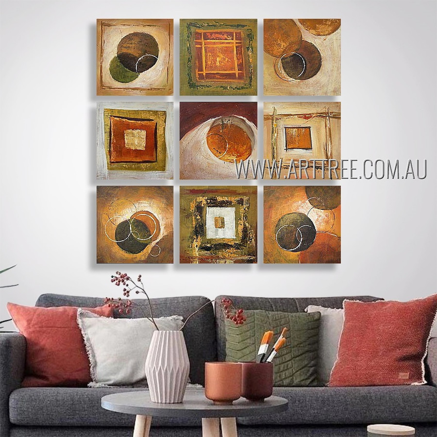 Geometric Stain Design Abstract Modern Heavy Texture Artist Handmade 9 Piece Multi Panel Canvas Oil Painting Wall Art Set For Room Tracery