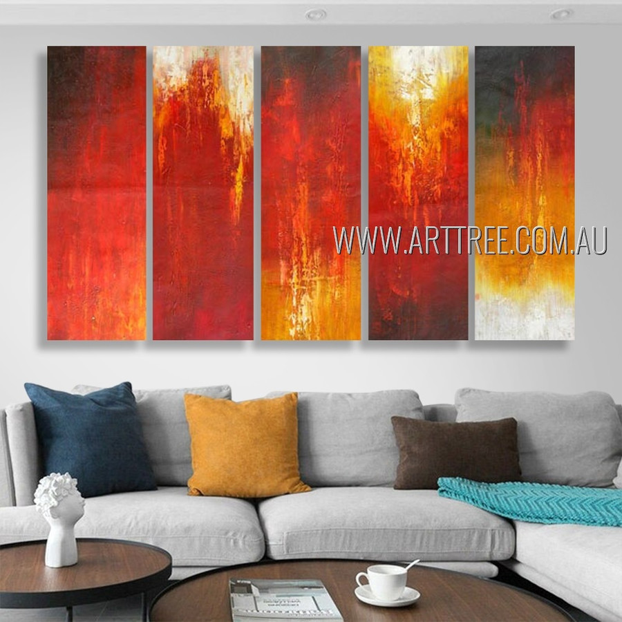 Varicoloured Design Abstract Modern Heavy Texture Artist Handmade 5 Piece Multi Panel Canvas Oil Painting Wall Art Set For Room Outfit