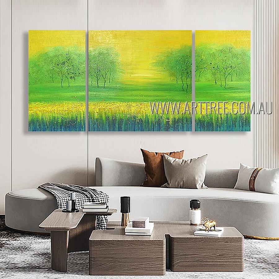 Green Garden Landscape Modern Heavy Texture Artist Handmade 3 Piece Split Canvas Art Painting Set For Room Décor
