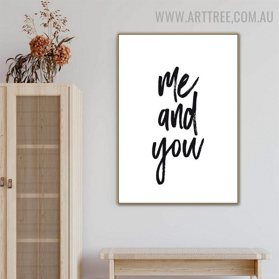 Me And You Abstract Quotes Modern Painting Photo Canvas Print for Room Wall Drape