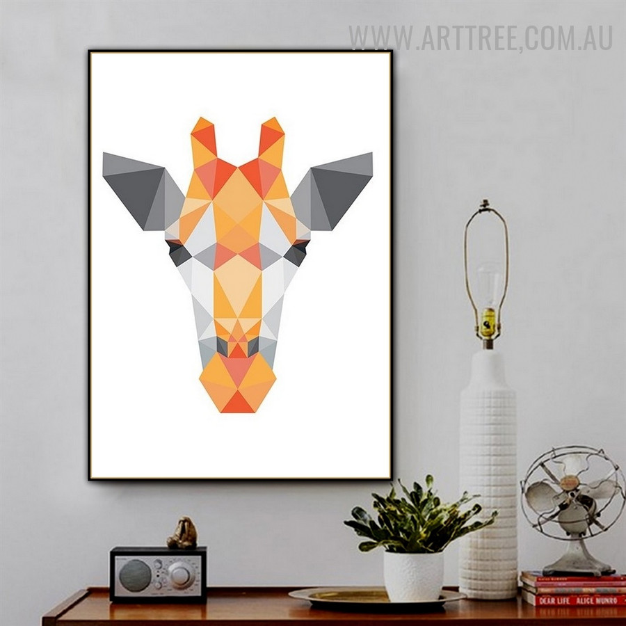 Deer Face Rectangles Animal Geometrical Photo Modern Wall Artwork Canvas Print for Room Decor