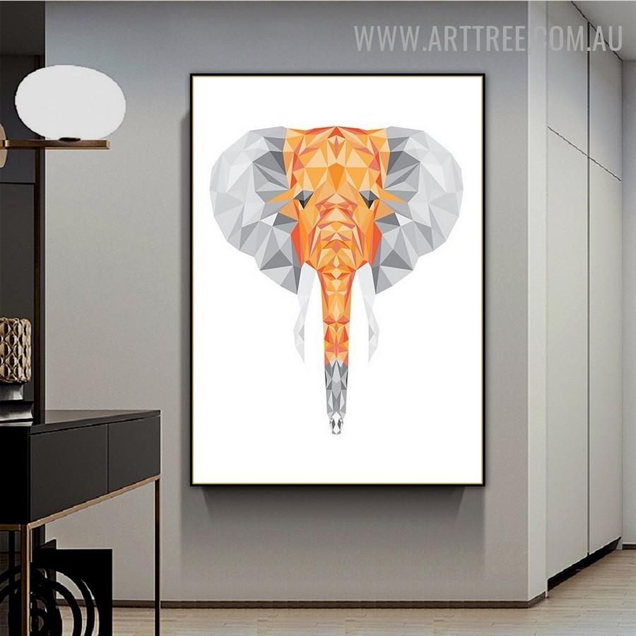 Motley Elephant Face Triangles Contemporary Animal Geometric Artwork Photo Canvas Print for Room Wall Equipment