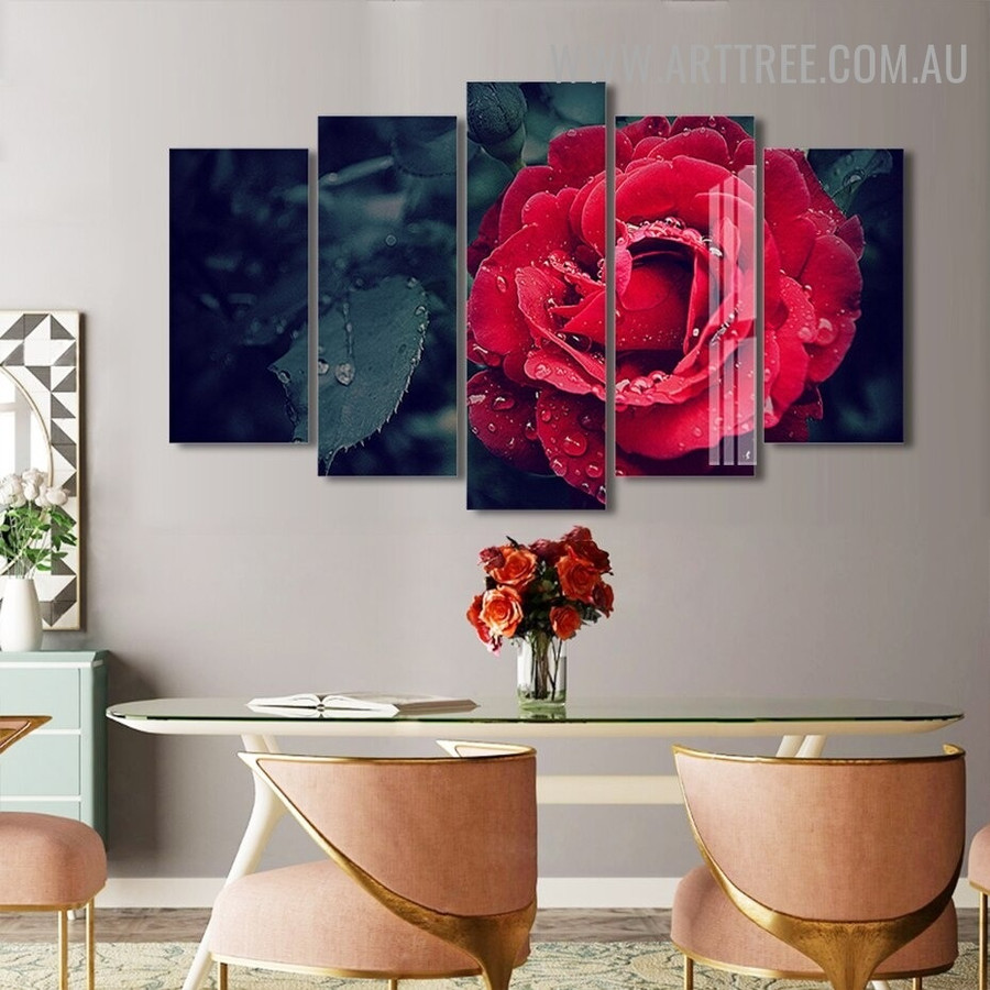 Red Rose Water Drops Floret Modern 5 Multi Panel Art Image Canvas Print for Room Wall Molding