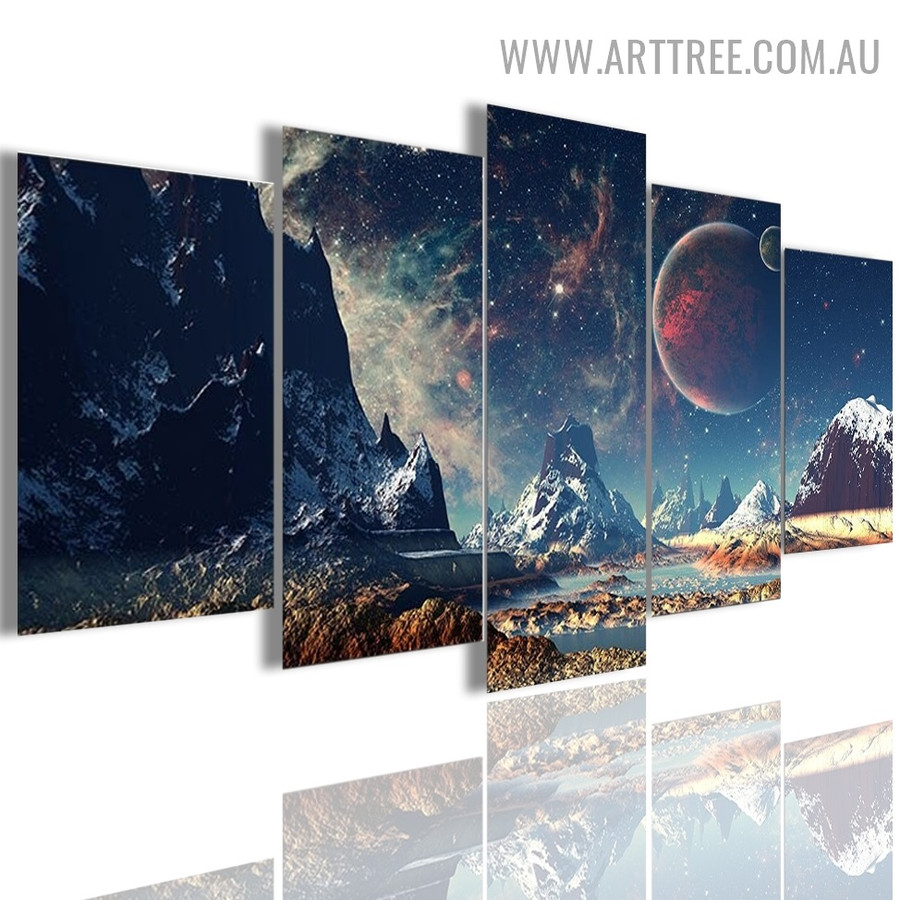 Space Planets Galaxy Landscape Naturescape 5 Piece Modern Over Size Image Canvas Painting Print For Room Wall Drape