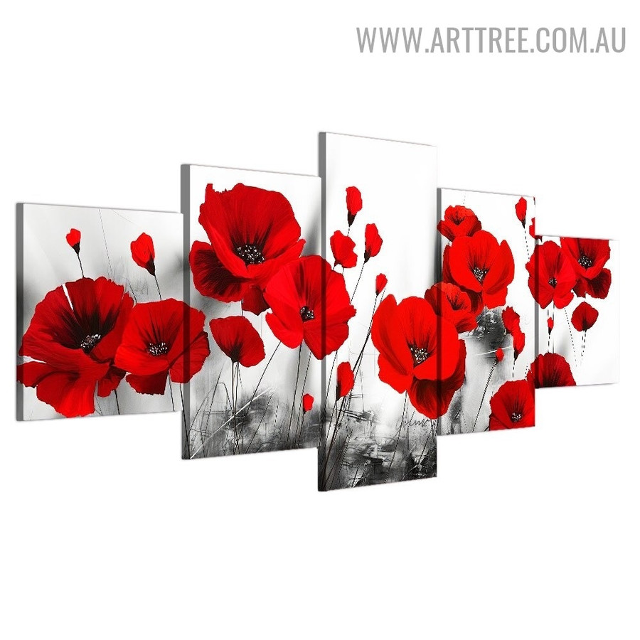 Poppy Daffodils Modern 5 Piece Floret Size Over Art Image Canvas Print for Room Wall Decor
