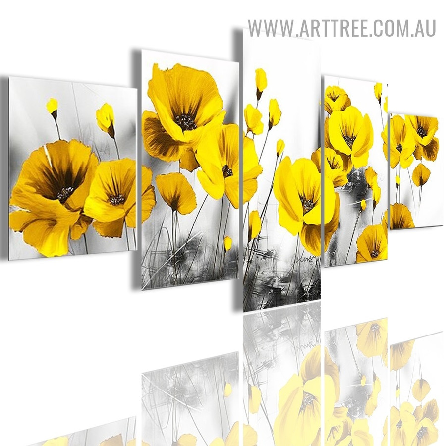 Yellow Poppy Blossom Floret Modern 5 Piece Multi Panel Image Canvas Painting Print for Room Wall Adornment