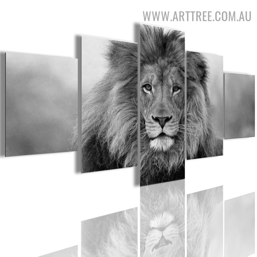 Wild King Lion Modern Animal 5 Piece Multi Panel Image Canvas Painting Print for Room Wall Decoration
