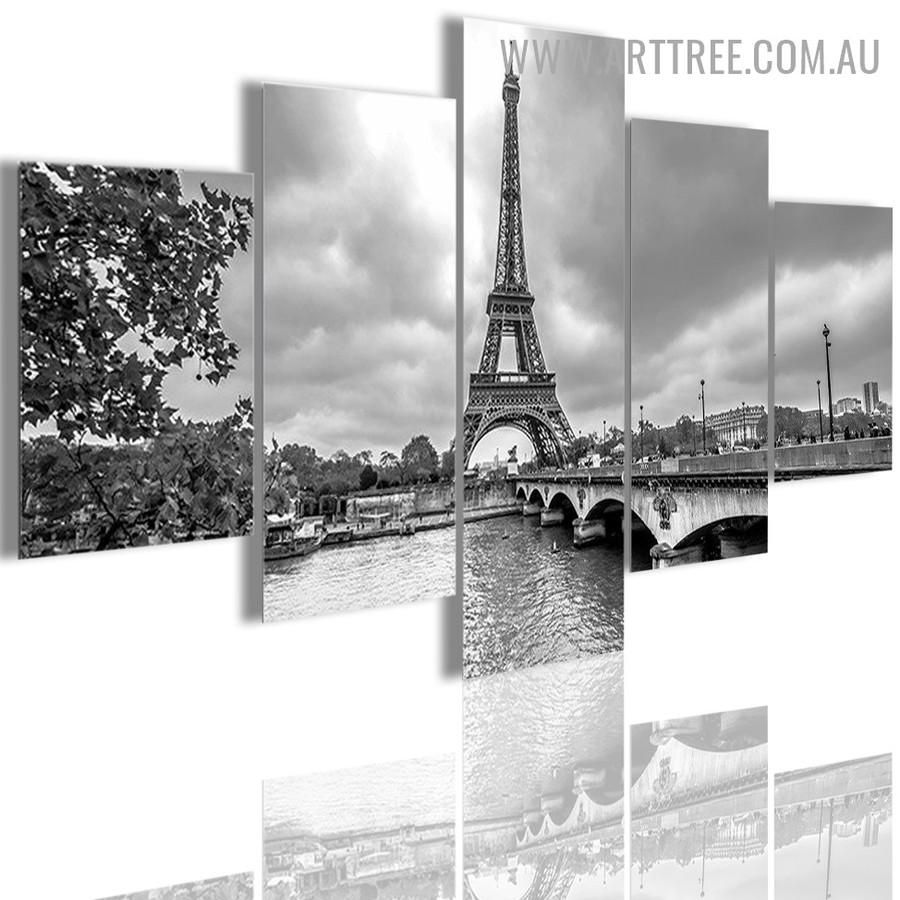 Eiffel Tower Paris Modern Floret Landscape 5 Piece Multi Piece Painting Image Canvas Print for Room Wall Decor