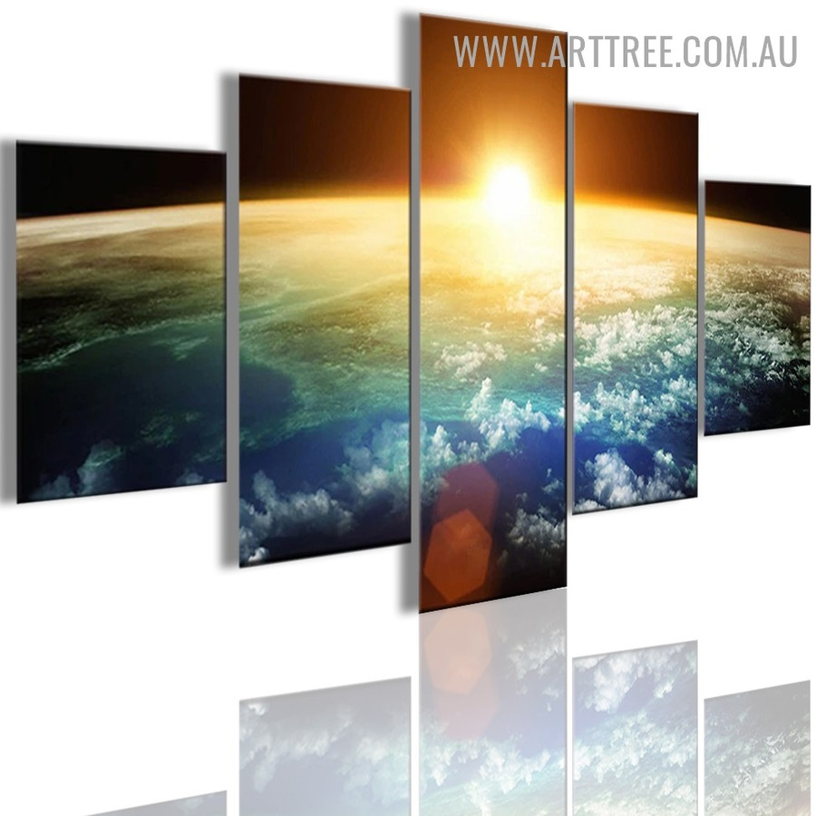 Universe Space Spots Abstract Naturescape Modern 5 Piece Multi Panel Image Canvas Painting Print for Room Wall Drape
