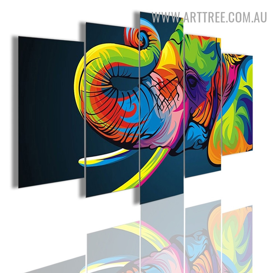Colourful Elephant Animal Modern 5 Piece Large Canvas Wall Art Image Canvas Print for Room Finery