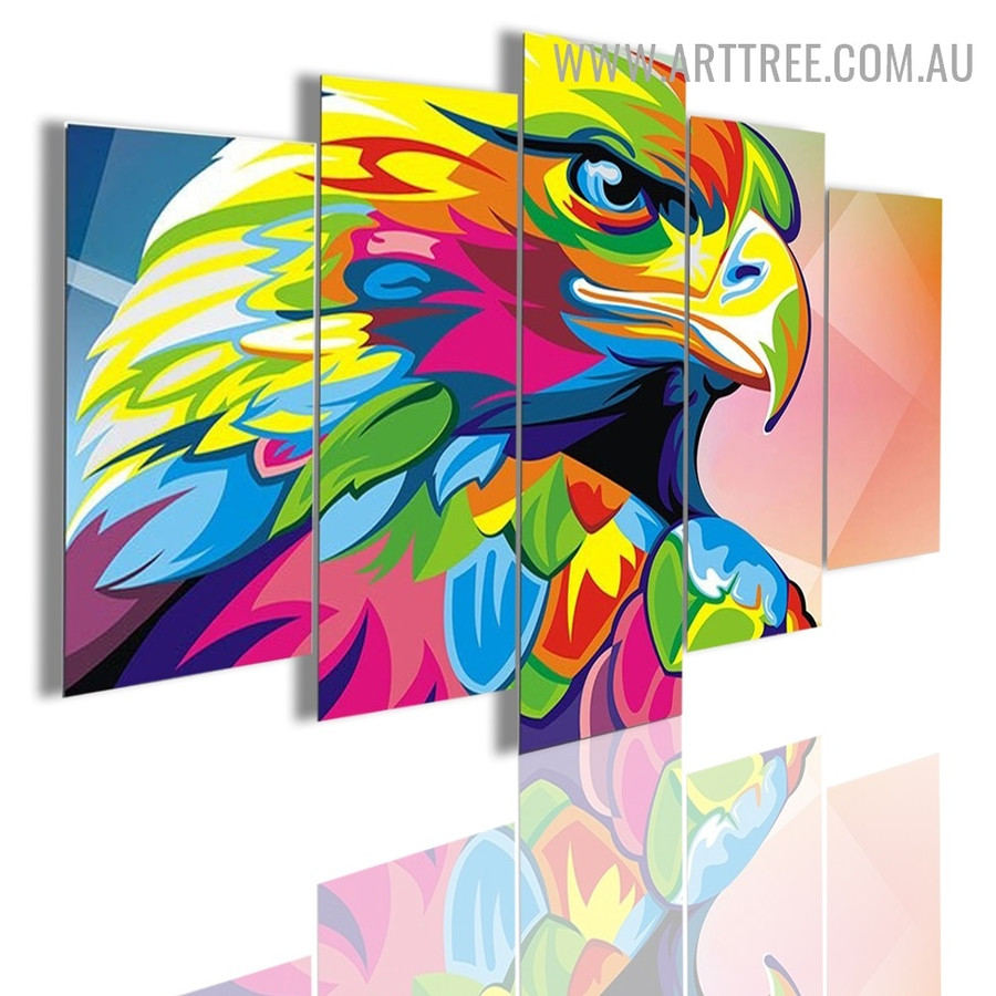 Eagle Bird Modern 5 Piece Split Art Image Canvas Print for Room Wall Assortment